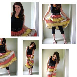 Elastic waist sherbert stripe skirt