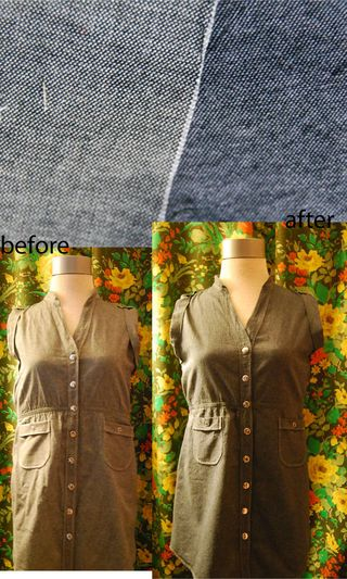Chambray dye before after