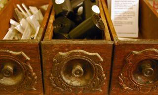 Vintage drawers as storage